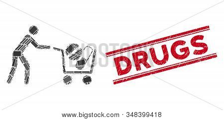 Mosaic Medical Drugs Buyer Cart Icon And Red Drugs Stamp Between Double Parallel Lines. Flat Vector