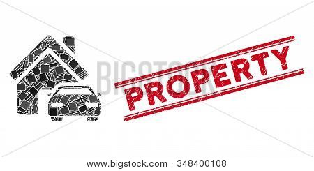 Mosaic Property Pictogram And Red Property Rubber Print Between Double Parallel Lines. Flat Vector P