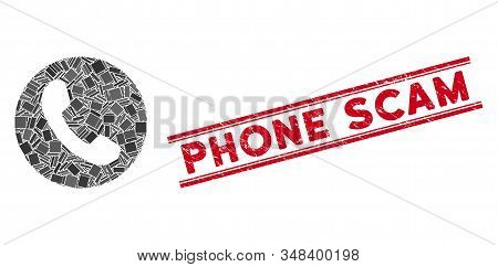 Mosaic Phone Number Icon And Red Phone Scam Rubber Print Between Double Parallel Lines. Flat Vector
