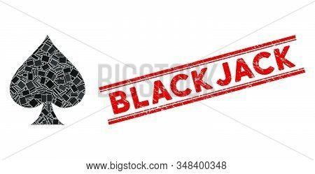 Mosaic Spades Suit Pictogram And Red Blackjack Seal Stamp Between Double Parallel Lines. Flat Vector