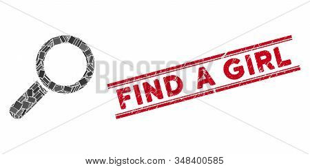 Mosaic Find Pictogram And Red Find A Girl Rubber Print Between Double Parallel Lines. Flat Vector Fi