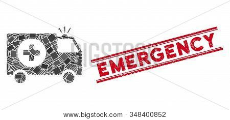 Mosaic Emergency Icon And Red Emergency Seal Stamp Between Double Parallel Lines. Flat Vector Emerge