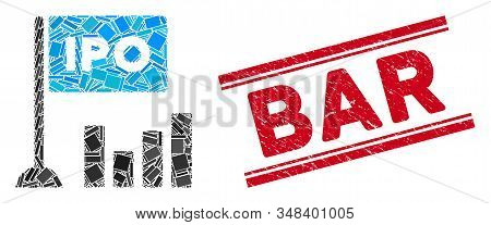 Mosaic Ipo Bar Chart Icon And Red Bar Seal Stamp Between Double Parallel Lines. Flat Vector Ipo Bar