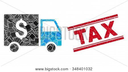 Mosaic Tax Collector Car Pictogram And Red Tax Seal Between Double Parallel Lines. Flat Vector Tax C