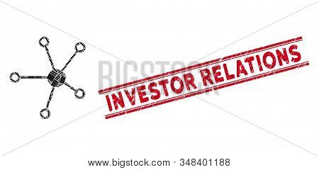 Mosaic Relations Pictogram And Red Investor Relations Watermark Between Double Parallel Lines. Flat