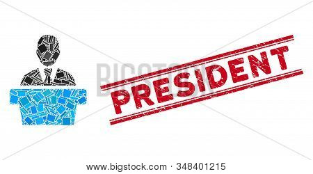 Mosaic Politician Icon And Red President Stamp Between Double Parallel Lines. Flat Vector Politician