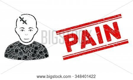 Mosaic Head Hurt Pictogram And Red Pain Stamp Between Double Parallel Lines. Flat Vector Head Hurt M