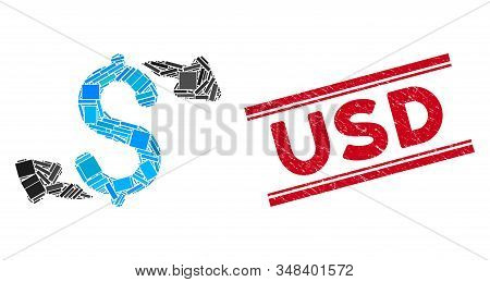 Mosaic Cash Outs Pictogram And Red Usd Watermark Between Double Parallel Lines. Flat Vector Cash Out
