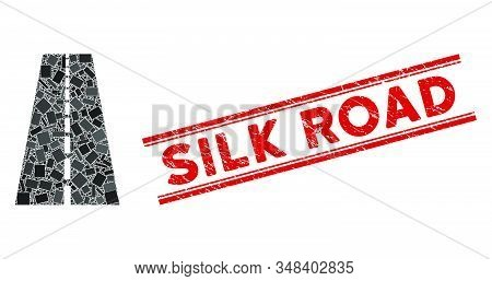 Mosaic Straight Road Icon And Red Silk Road Seal Between Double Parallel Lines. Flat Vector Straight