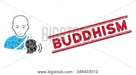 Mosaic Buddhist Confession Icon And Red Buddhism Seal Stamp Between Double Parallel Lines. Flat Vect