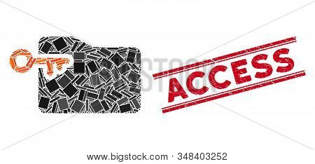 Mosaic Folder Access Key Icon And Red Access Seal Stamp Between Double Parallel Lines. Flat Vector F