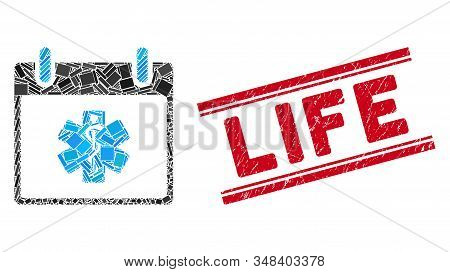 Mosaic Life Star Calendar Day Icon And Red Life Rubber Print Between Double Parallel Lines. Flat Vec