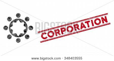 Mosaic Union Corporation Pictogram And Red Corporation Watermark Between Double Parallel Lines. Flat