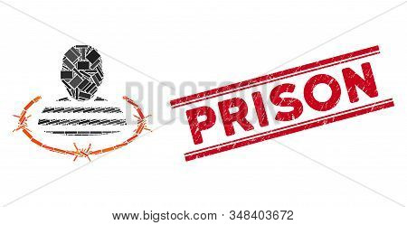 Mosaic Prison Pictogram And Red Prison Rubber Print Between Double Parallel Lines. Flat Vector Priso