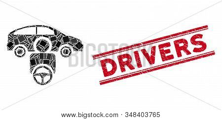 Mosaic Car Driver Icon And Red Drivers Stamp Between Double Parallel Lines. Flat Vector Car Driver M
