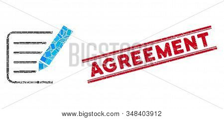 Mosaic Sign Agreement Pictogram And Red Agreement Rubber Print Between Double Parallel Lines. Flat V