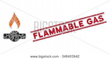 Mosaic Gas Flame Icon And Red Flammable Gas Stamp Between Double Parallel Lines. Flat Vector Gas Fla