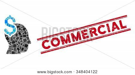 Mosaic Commercial Intellect Icon And Red Commercial Stamp Between Double Parallel Lines. Flat Vector