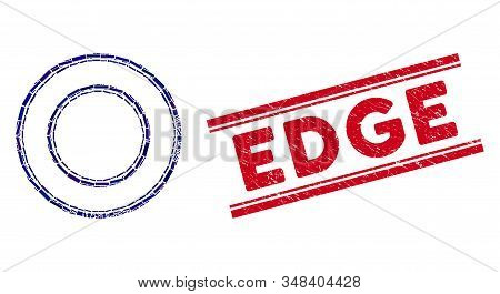 Mosaic Double Round Frame Icon And Red Edge Seal Stamp Between Double Parallel Lines. Flat Vector Do