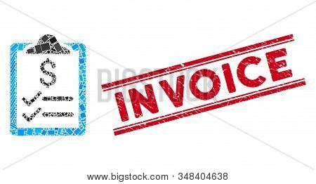 Mosaic Invoice Pad Icon And Red Invoice Watermark Between Double Parallel Lines. Flat Vector Invoice