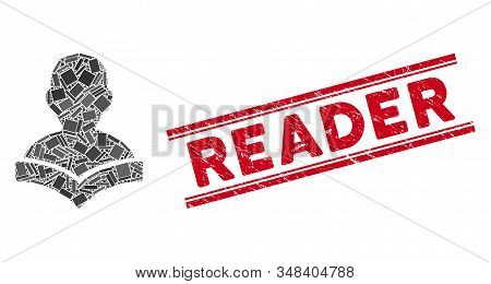 Mosaic Reader Student Icon And Red Reader Stamp Between Double Parallel Lines. Flat Vector Reader St