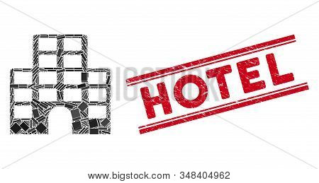 Mosaic Hotel Icon And Red Hotel Stamp Between Double Parallel Lines. Flat Vector Hotel Mosaic Icon O