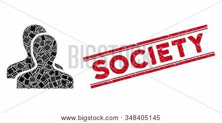 Mosaic Clients Icon And Red Society Stamp Between Double Parallel Lines. Flat Vector Clients Mosaic