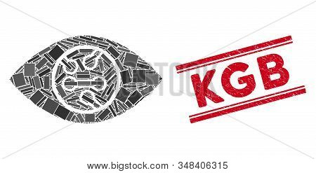 Mosaic Digital Eye Lens Pictogram And Red Kgb Stamp Between Double Parallel Lines. Flat Vector Digit