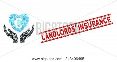 Mosaic Euro Care Hands Icon And Red Landlords Insurance Stamp Between Double Parallel Lines. Flat Ve