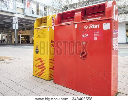 Canberra, Australia - Sep 8, 2018: Australia Post Mail Boxes Around Canberra Centre Shopping Mall. T