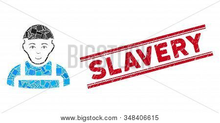 Mosaic Worker Pictogram And Red Slavery Seal Between Double Parallel Lines. Flat Vector Worker Mosai