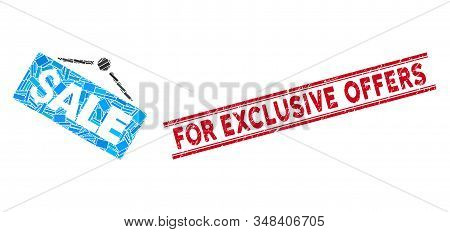Mosaic Sale Signboard Pictogram And Red For Exclusive Offers Stamp Between Double Parallel Lines. Fl