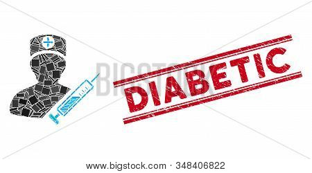 Mosaic Medic Pictogram And Red Diabetic Seal Stamp Between Double Parallel Lines. Flat Vector Medic