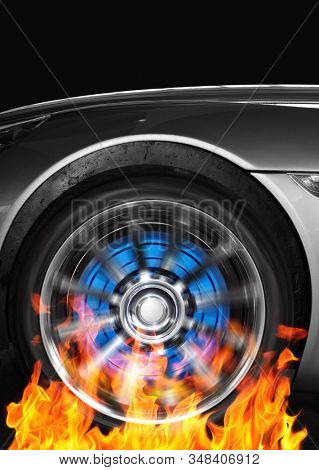 Car wheel and fire flames