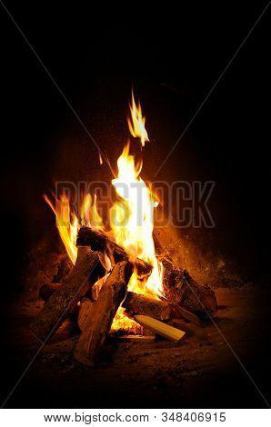 Flames on open log fire