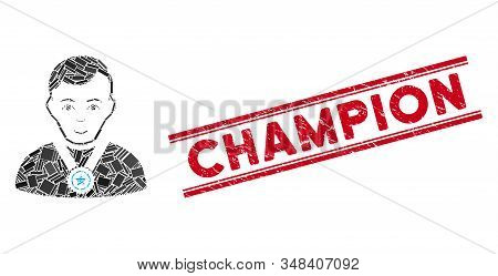Mosaic Champion Pictogram And Red Champion Stamp Between Double Parallel Lines. Flat Vector Champion