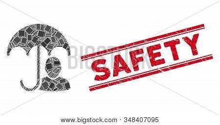 Mosaic User Safety Umbrella Icon And Red Safety Seal Stamp Between Double Parallel Lines. Flat Vecto