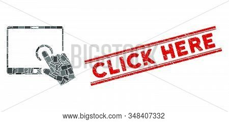 Mosaic Hand Touch Pda Icon And Red Click Here Seal Between Double Parallel Lines. Flat Vector Hand T