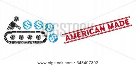 Mosaic Money Production Pictogram And Red American Made Seal Stamp Between Double Parallel Lines. Fl