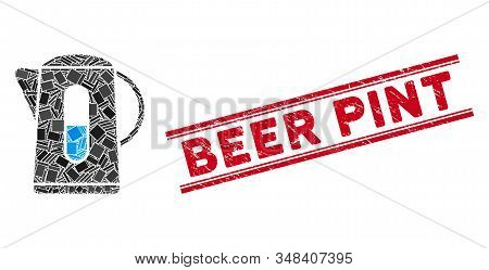 Mosaic Kettle Icon And Red Beer Pint Seal Stamp Between Double Parallel Lines. Flat Vector Kettle Mo