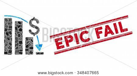 Mosaic Financial Epic Fail Icon And Red Epic Fail Seal Stamp Between Double Parallel Lines. Flat Vec