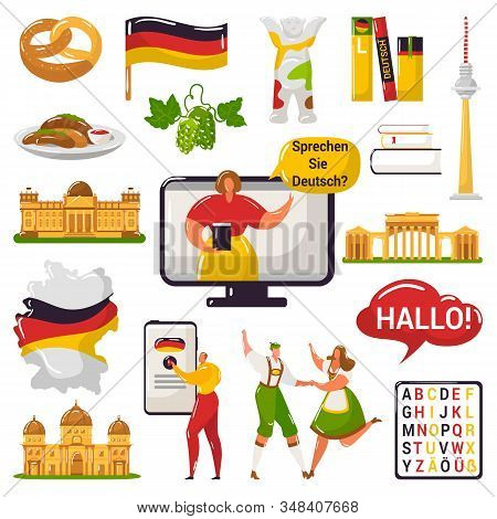 German Learning And Education Or Tourism, Travel To Germany Concept Vector Illustration Isolated Set