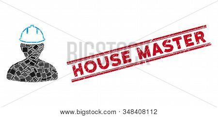 Mosaic Person In Hardhat Pictogram And Red House Master Stamp Between Double Parallel Lines. Flat Ve