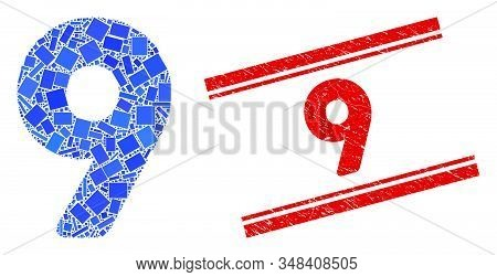 Mosaic 9 Digit Icon And Red 9 Rubber Print Between Double Parallel Lines. Flat Vector 9 Digit Mosaic