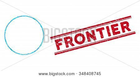 Mosaic Circle Frame Icon And Red Frontier Stamp Between Double Parallel Lines. Flat Vector Circle Fr
