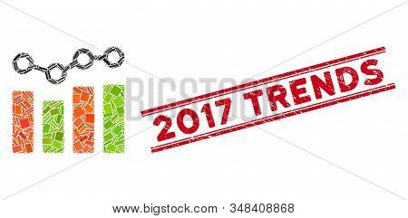 Mosaic Chart Trend Icon And Red 2017 Trends Stamp Between Double Parallel Lines. Flat Vector Chart T