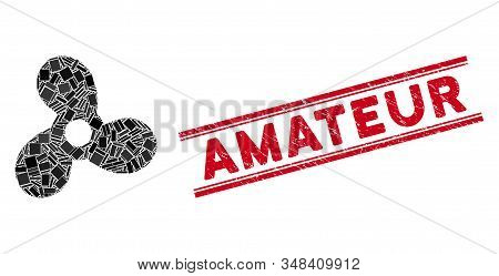 Mosaic Boat Propeller Pictogram And Red Amateur Seal Stamp Between Double Parallel Lines. Flat Vecto