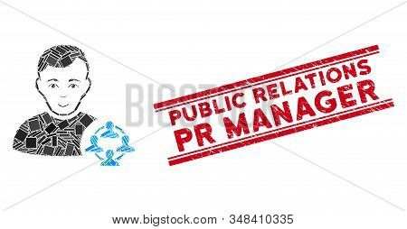 Mosaic Social Networker Icon And Red Public Relations Pr Manager Seal Stamp Between Double Parallel