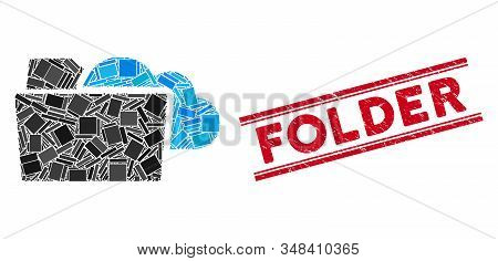 Mosaic Folder Icon And Red Folder Seal Between Double Parallel Lines. Flat Vector Folder Mosaic Icon