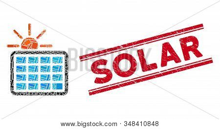 Mosaic Solar Power Icon And Red Solar Stamp Between Double Parallel Lines. Flat Vector Solar Power M